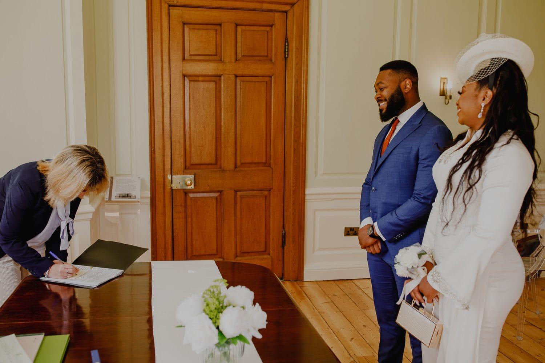 Bride and Groom at civil ceremony at Valentine Mansion